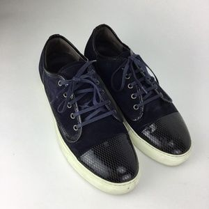 Lanvin Mens Blue Suede Cap Toe Sneakers Size US 11